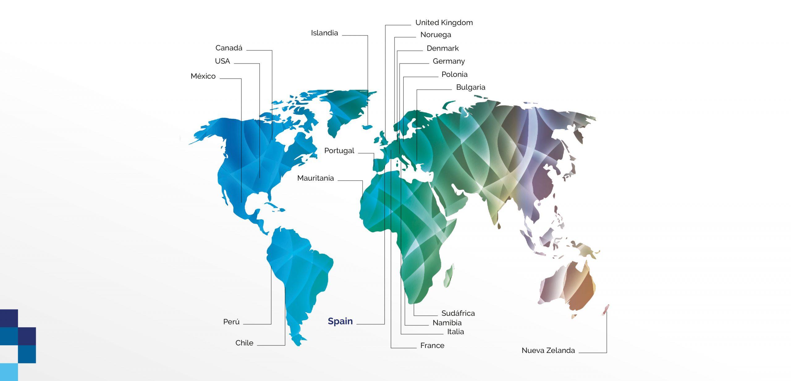 productos pescado y mariscoiberland - Mapa de exportación